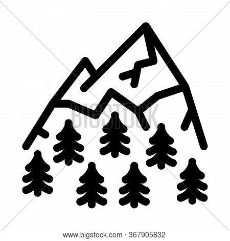 Mountain Landskape With Vegetation Icon Vector. Mountain Landskape With Vegetation Sign. Isolated Co