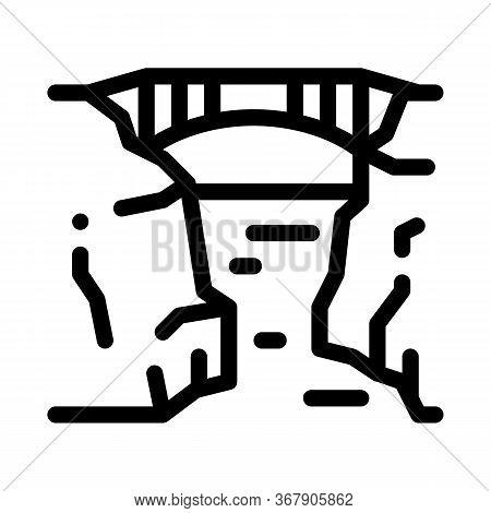 Bridge Mountain Landscape Icon Vector. Bridge Mountain Landscape Sign. Isolated Contour Symbol Illus