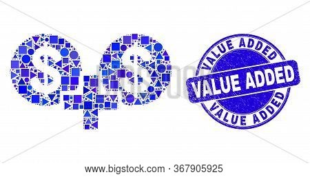 Geometric Financial Sum Mosaic Pictogram And Value Added Watermark. Blue Vector Round Grunge Waterma