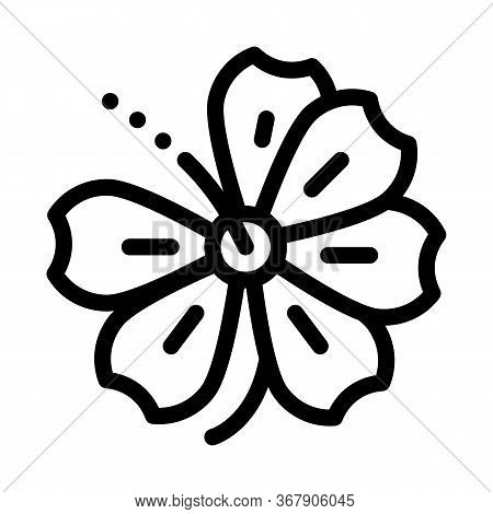 Hibiscus Flower Icon Vector. Hibiscus Flower Sign. Isolated Contour Symbol Illustration