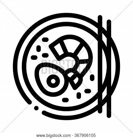 Seafood Plate Icon Vector. Seafood Plate Sign. Isolated Contour Symbol Illustration