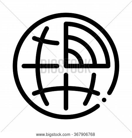 Global Earthquake Icon Vector. Global Earthquake Sign. Isolated Contour Symbol Illustration