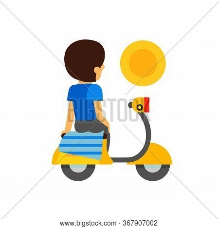 Woman Sitting On Moped With Handkerchief For Butt Cheeks Looking At Sun. Resting, Break, Contemplati