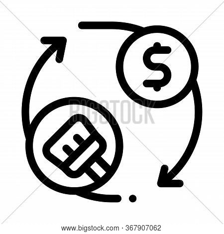 Cleaning Cycle And Money Icon Vector. Cleaning Cycle And Money Sign. Isolated Contour Symbol Illustr