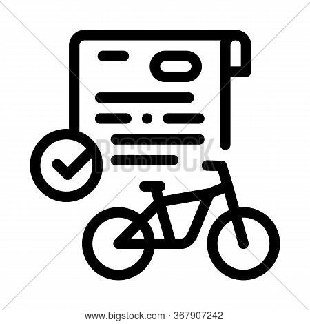 Contract For Temporary Use Of Bicycle Icon Vector. Contract For Temporary Use Of Bicycle Sign. Isola