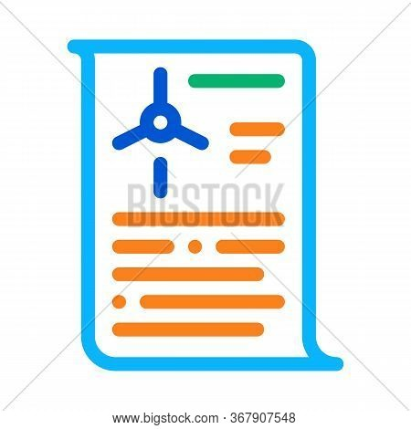 Wind Energy Technicians Document Icon Vector. Wind Energy Technicians Document Sign. Color Symbol Il