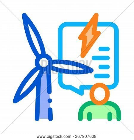 Thought About Benefits Of Wind Energy Icon Vector. Thought About Benefits Of Wind Energy Sign. Color