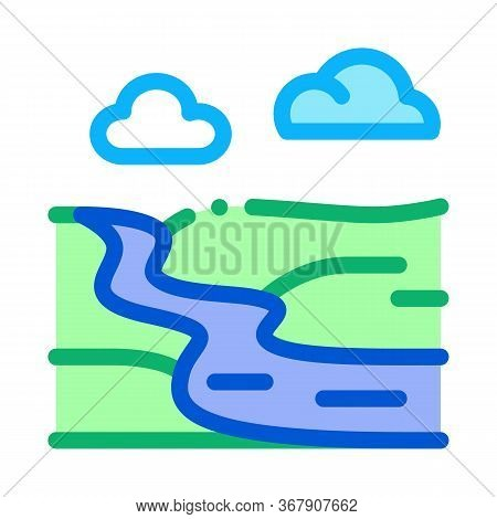 River Landscape In Countryside Icon Vector. River Landscape In Countryside Sign. Color Symbol Illust