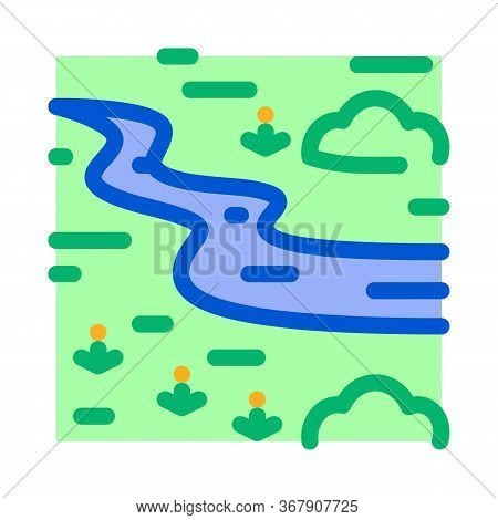 River Landscape Among Meadow Icon Vector. River Landscape Among Meadow Sign. Color Symbol Illustrati