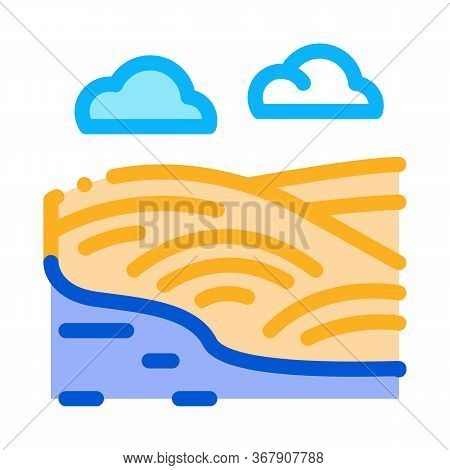 River Landscape With Hills Icon Vector. River Landscape With Hills Sign. Color Symbol Illustration