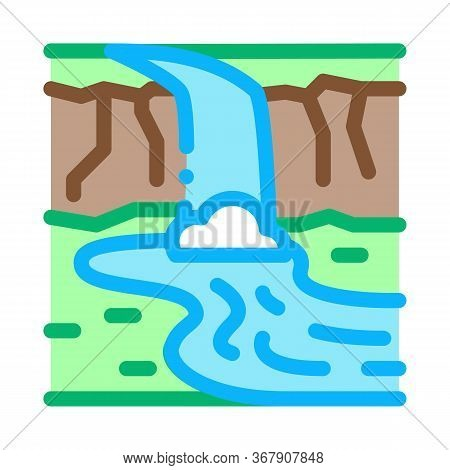 Current River With Bridge Icon Vector. Current River With Bridge Sign. Color Symbol Illustration