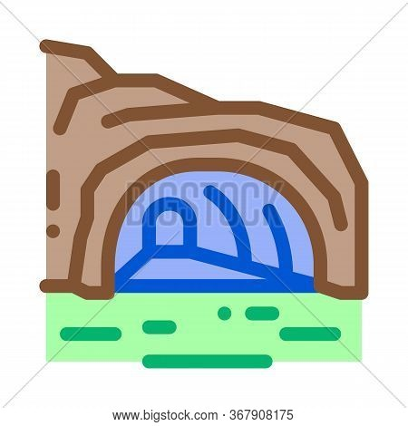 Mountain Cave Gorge Icon Vector. Mountain Cave Gorge Sign. Color Symbol Illustration