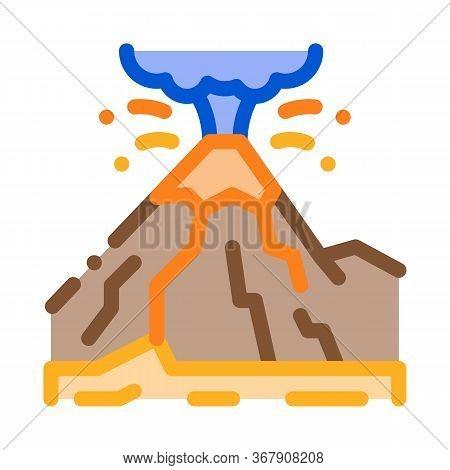 Mountain Eruption Icon Vector. Mountain Eruption Sign. Color Symbol Illustration