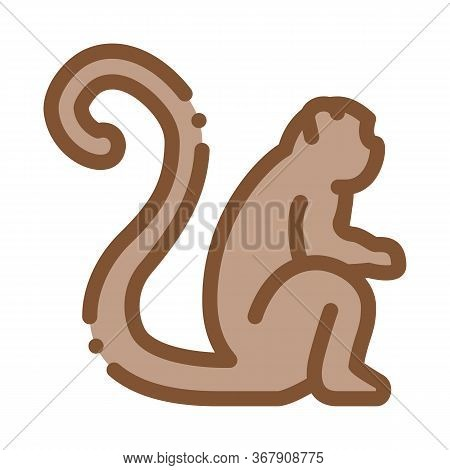 Malaysian Monkey Icon Vector. Malaysian Monkey Sign. Color Symbol Illustration