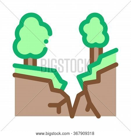 Earthquake Rupture Of Forest Icon Vector. Earthquake Rupture Of Forest Sign. Color Symbol Illustrati