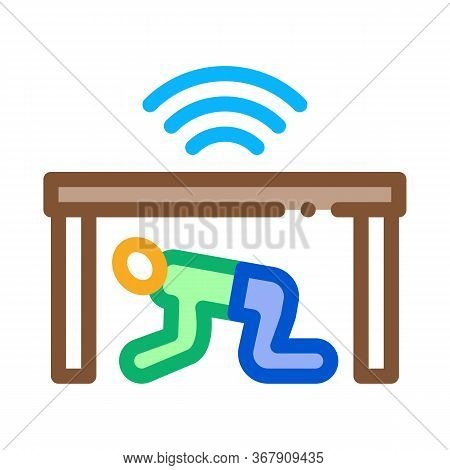 Protection Hide Human Under Table Icon Vector. Protection Hide Human Under Table Sign. Color Symbol