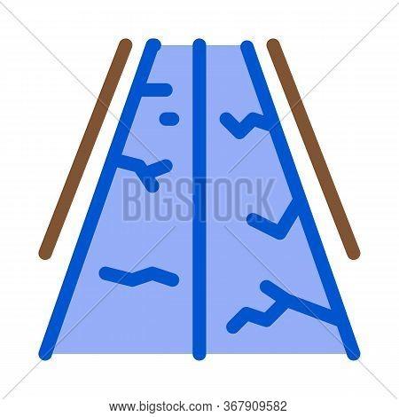 Fault Gorge On Road Icon Vector. Fault Gorge On Road Sign. Color Symbol Illustration