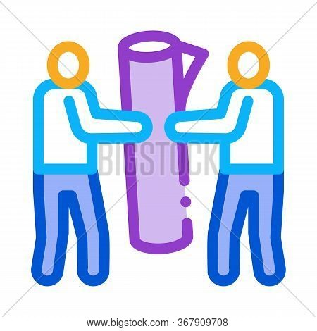 People Carry Rolled Carpet Icon Vector. People Carry Rolled Carpet Sign. Color Symbol Illustration