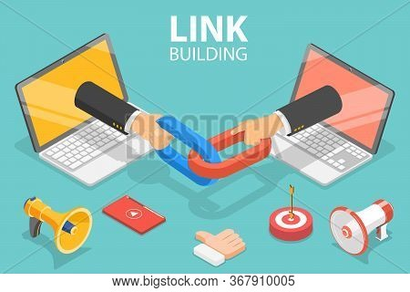 3d Isometric Flat Vector Concept Of Link Building, Seo, Backlink Strategy.