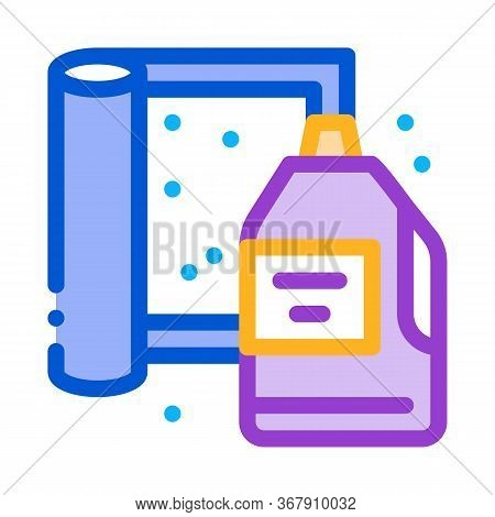 Cleaning Agent And Carpet Icon Vector. Cleaning Agent And Carpet Sign. Color Symbol Illustration