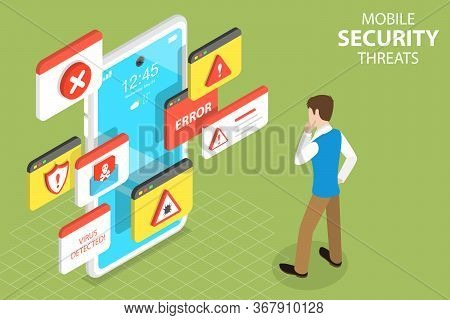 3d Isometric Flat Vector Concept Of Mobile Security Threats, Computer Virus.