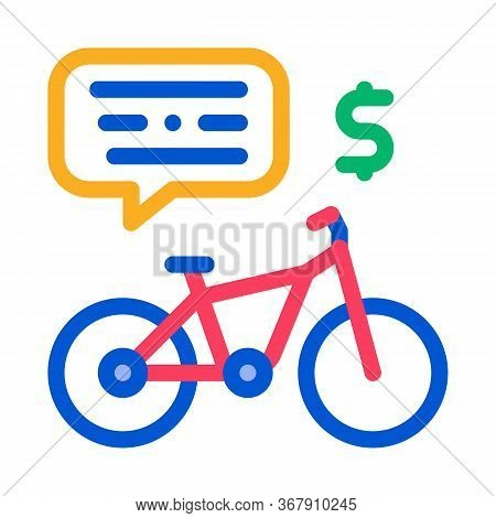 Payment For Using Bicycle Icon Vector. Payment For Using Bicycle Sign. Color Symbol Illustration