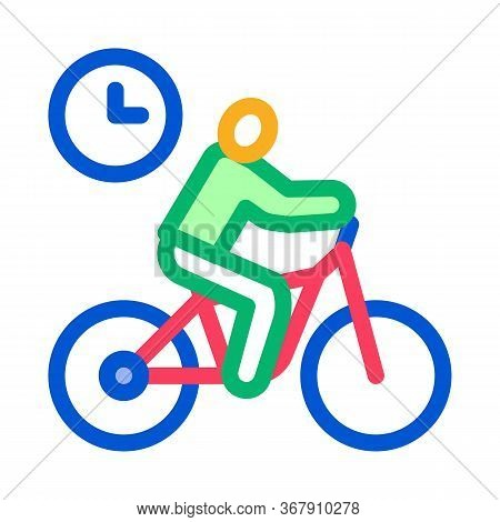 Limited Cycling Time Icon Vector. Limited Cycling Time Sign. Color Symbol Illustration