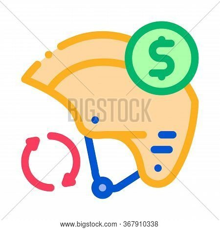 Safety Helmet Paid Service Icon Vector. Safety Helmet Paid Service Sign. Color Symbol Illustration