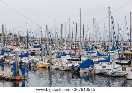 Monterey, California, Usa - 09 June 2015: View Of The Monterey Yacht Port. Exclusive Yachts Moored I