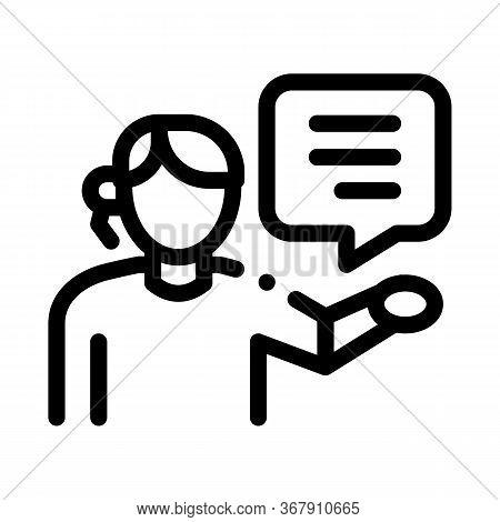 Help Desk Representative Icon Vector. Help Desk Representative Sign. Isolated Contour Symbol Illustr