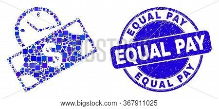 Geometric Banknote Credit Time Mosaic Pictogram And Equal Pay Watermark. Blue Vector Round Scratched
