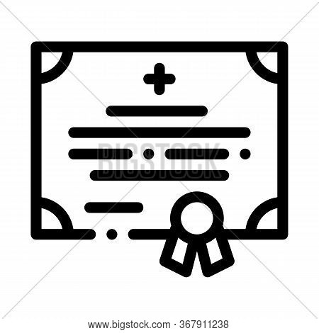 Medical Certificate Of Nurse Degree Icon Vector. Medical Certificate Of Nurse Degree Sign. Isolated