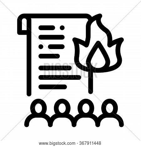 Desire To Burn Documents Icon Vector. Desire To Burn Documents Sign. Isolated Contour Symbol Illustr