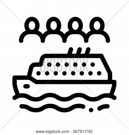 Sea Crossing Liner People Icon Vector. Sea Crossing Liner People Sign. Isolated Contour Symbol Illus