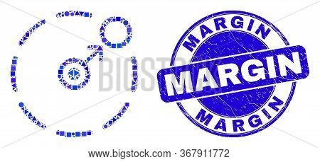 Geometric Move To Circle Perimeter Mosaic Icon And Margin Seal Stamp. Blue Vector Rounded Distress S