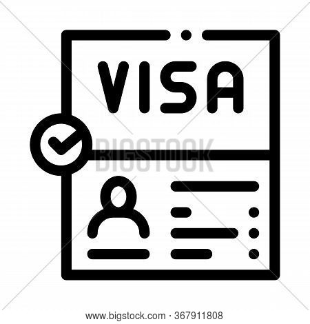 Visa Document Confirmation Icon Vector. Visa Document Confirmation Sign. Isolated Contour Symbol Ill