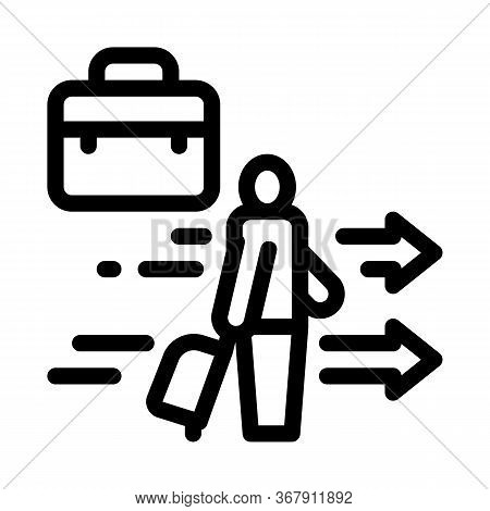 Man With Business Suitcase Icon Vector. Man With Business Suitcase Sign. Isolated Contour Symbol Ill