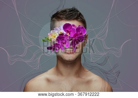 Portrait Of Beautiful Man With Modern Floral Design, Inspiration Artwork. Beauty, Fashion And Ad Con