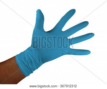 Blue Medical Rubber Gloves, Isolated On White Background. Clipping Path Included.