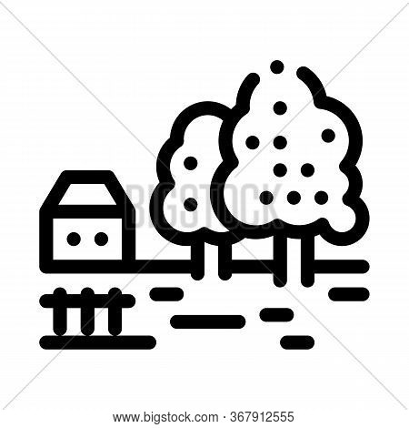Orchard In Village Icon Vector. Orchard In Village Sign. Isolated Contour Symbol Illustration