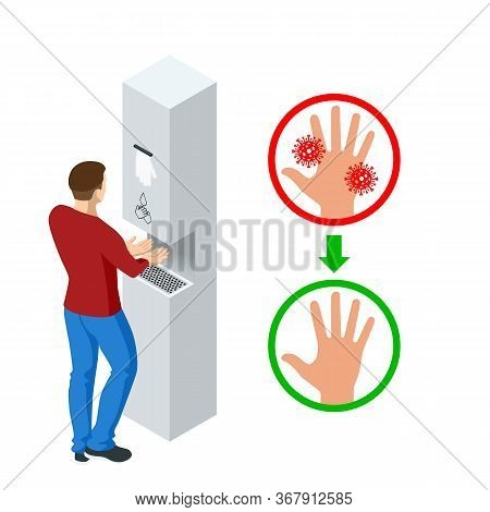 Isometric Automatic Alcohol Hand Sanitizer Dispenser Protection Coronavirus Covid-19. Rubbing Alcoho