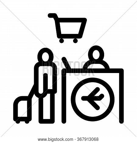 Man With Suitcase At Checkout Duty Free Icon Vector. Man With Suitcase At Checkout Duty Free Sign. I