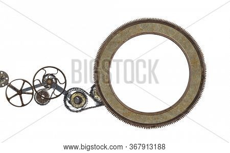 Metallic round frame with vintage machine gears and retro cogwheel. Isolated on white background. Mock up template. Copy space for text. Can be used for steampunk and mechanical design