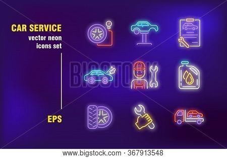Car Repair Neon Signs Set. Garage, Mechanic, Tool, Spanner, Tire, Tow Truck. Night Bright Advertisin