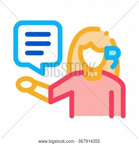 Woman Verbal Help By Phone Icon Vector. Woman Verbal Help By Phone Sign. Isolated Contour Symbol Ill
