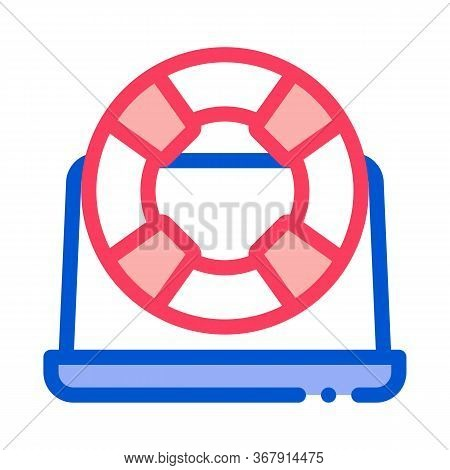 Lifebuoy Computer Icon Vector. Lifebuoy Computer Sign. Isolated Contour Symbol Illustration
