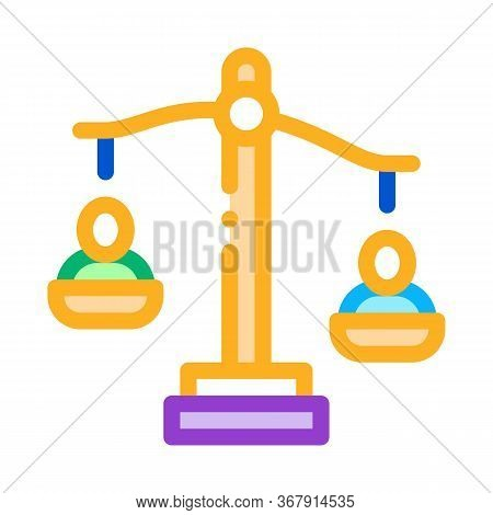Employment Scales Of Justice Icon Vector. Employment Scales Of Justice Sign. Isolated Contour Symbol