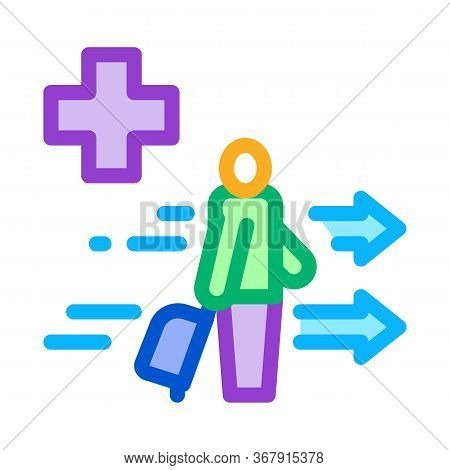 Medical Assistance To Tourist With Suitcase Icon Vector. Medical Assistance To Tourist With Suitcase