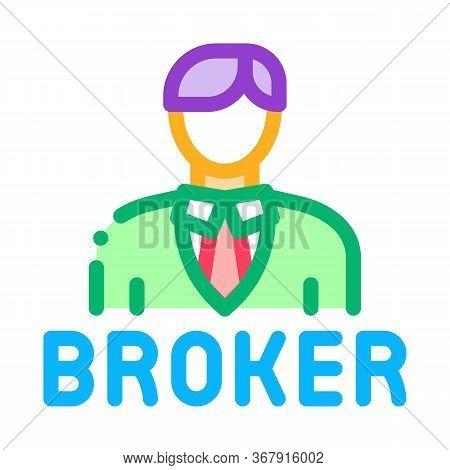 Broker Man Icon Vector. Broker Man Sign. Isolated Contour Symbol Illustration