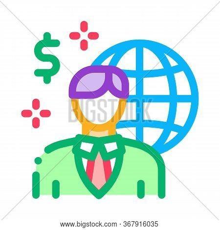 Global Profession Representative Realtor Icon Vector. Global Profession Representative Realtor Sign.